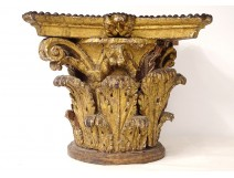 Large Corinthian capital Louis XIV carved wood acanthus leaves 17th century