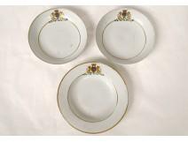 3 porcelain dishes Compagnie Indes arms Thomas de Pange Qianlong 18th