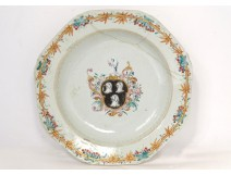 Octagonal porcelain dish East India Company coat of arms Hall XVIII