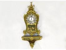 Large Louis XV decorative cartel Vernis Martin gilded bronze birds XIXth