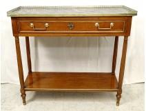 Console Louis XVI mahogany gray marble Sainte-Anne golden brass XIXth century