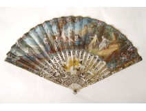 Fan gouache landscapes characters women queen mother-of-pearl 18th century Directory
