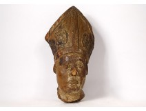 Wood sculpture head bishop miter late 17th early 18th centuries