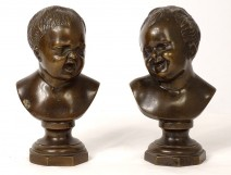 Pair of bronze sculptures John who laughs John who weeps from ap. Houdon XIXth