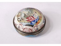 Small round box enamel silver vermeil shepherdess sheep nineteenth landscape