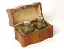 Odor cellar perfume bottles box inlaid brass Grand Tour XIXth