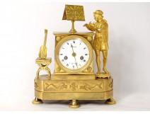 Gilt bronze clock Troubadour musician flute guitar dolphins nineteenth