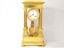 Pendulum portico with columns gilded bronze Flocard Paris Empire clock XIXth