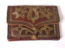 18th century embossed leather purse silver thread flowers