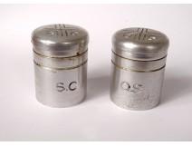 Pair of oil bulbs Saint Chrême OS SC catechumens metal cross twentieth