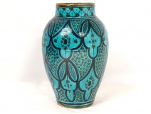 Glazed ceramic baluster vase Middle East Persia flowers late 19th century