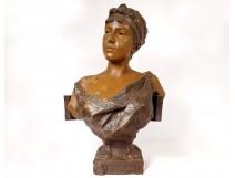 Sculpture bust woman Galatée Emmanuel Villanis Blot Art Nouveau XIXth
