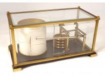 Barograph barometer recorder Naudet Paris navy golden brass twentieth