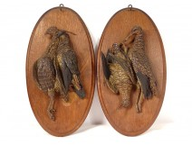 Pair of sculptures of hunting trophies birds woodcock partridge terracotta 19th