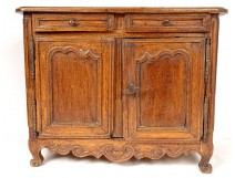 Small Louis XV master's sideboard rustic cherry wood carved eighteenth hearts