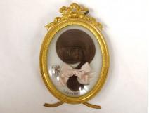 Miniature hair work monogram oval frame gilded brass knot 1900