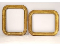 Pair of gilded stucco wood frames Napoleon III nineteenth century