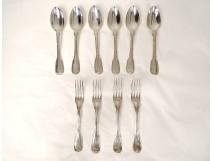 Lots cutlery forks spoons silver Farmers General 874gr XVIIIth