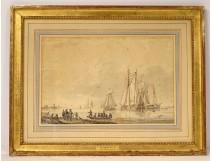 Marine drawing G. Groening Dutch landing boats 18th century Netherlands