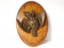 Hunting trophy bronze sculpture bird partridge nineteenth wood medallion