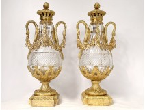 Pair of large cut crystal casseroles gilded bronze swans garlands nineteenth