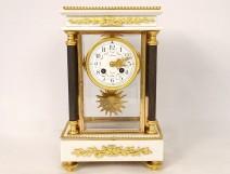 Louis XVI cage clock white marble gilded bronze Mougin columns nineteenth century