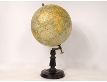 Terrestrial globe world map Geographer Forest Girard Barrère Paris wood nineteenth