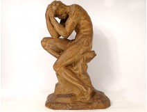 Terracotta sculpture naked man athlete at rest O. Merval Art Deco twentieth