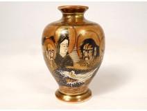 Small porcelain vase Satsuma japan characters Geisha dragon Meiji nineteenth