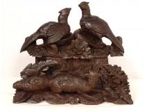 Box jewelry box carved wood Black Forest birds fox flowers nineteenth