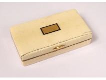 18K solid gold ivory box snuffbox with bull hallmark early 19th century