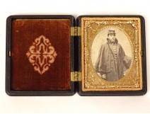 Daguerreotype photograph soldier Union Civil War USA ebonite frame 19th