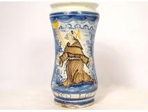 Albarello earthenware pharmacy pot Italy Saint Francis Assisi XVIIIth