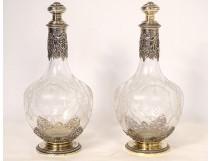 Pair of decanters silver vermeillé Minerva crystal engraved Napoleon III nineteenth