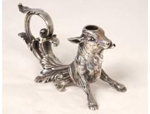 Table lighter countertop cigar lighter silvered bronze bull nineteenth century