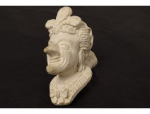 Pipe terre Dutel-Gisclon head grotesque character feathers XIXth century