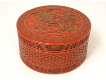Round box cinnabar Chinese lacquer character landscape pagoda signed nineteenth