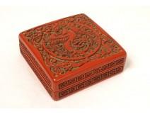 Small box cinnabar lacquer China bird phoenix dragons nineteenth century