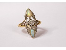 Marquise ring solid gold 18 carats opal diamond jewel 6.24gr nineteenth century