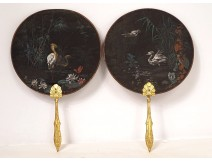 Pair of hand-painted silk screens W. Mussill herons cranes gilded wood XIXth