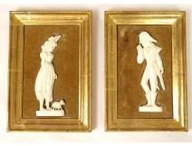 Pair of miniatures carved ivory bas-relief Dieppe Incroyable Merveilleuse XXth