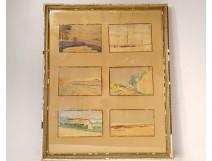 6 watercolors Paul Avril landscapes St Amant Martigues Hendaye Le Croisic XIXth