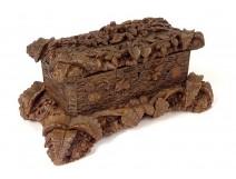 Box carved wood box Black Forest foliage ferns pine cones nineteenth