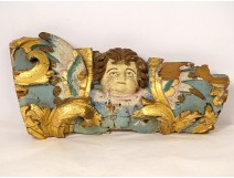 Element decoration altarpiece carved gilded polychrome head angel XVIIth