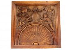 Large carved wood decoration panel cherub cherub eighteenth shell