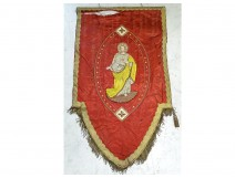 Processional banner Christ Virgin Mary embroidery thread gold silver XIXth