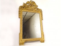 Large Louis XVI mirror carved gilded wood birds quiver torch XVIIIth