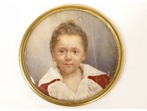 Miniature round portrait young child boy signed nineteenth brass frame