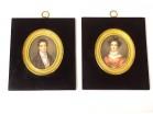 Pair miniatures J. Lecourt portraits noble bourgeois couple Boulogne nineteenth