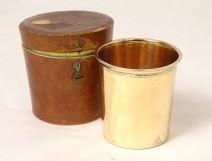Vieillard Paris silver-vermeillé timpani goblet leather travel case 85gr 19th